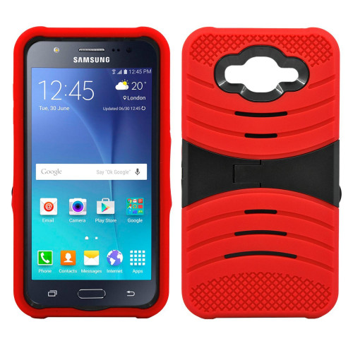 Samsung Galaxy J710 2016 Hybrid Silicone Case Cover Stand Red