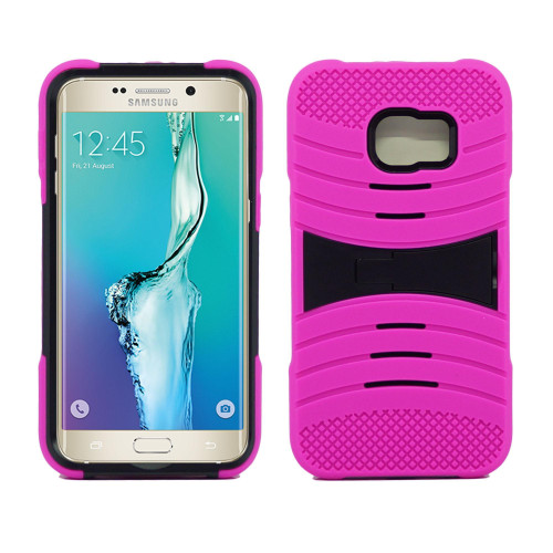 Samsung Galaxy S6 Edge Plus Hybrid Silicone Case Cover Stand Pink