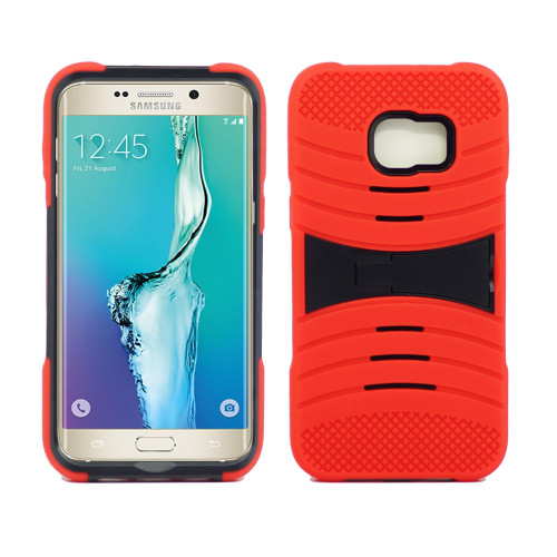 Samsung Galaxy S6 Edge Plus Hybrid Silicone Case Cover Stand Red