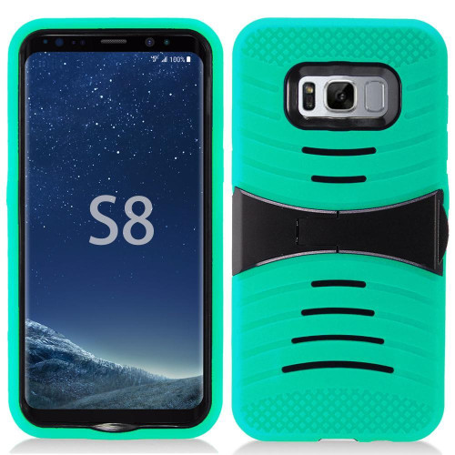 Samsung Galaxy S8 Hybrid Silicone Case Cover Stand Teal