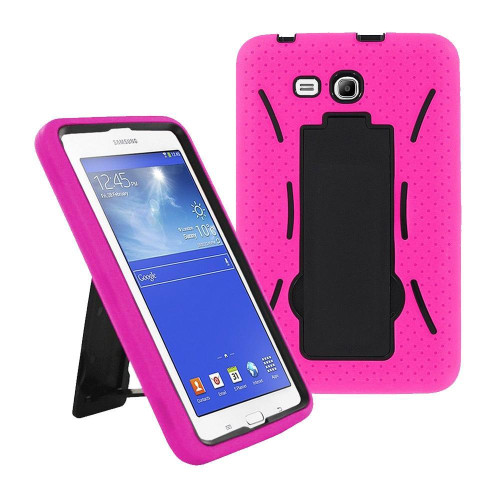 Samsung Galaxy Tab 3 Lite 7.0 / T110 Hybrid Silicone Case Cover Stand Pink