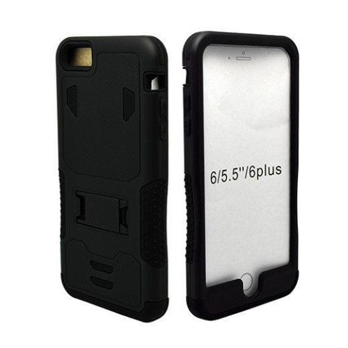 Iphone 6 / 6S Plus Impact Silicone Case Dual Layer With Stand Black