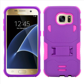 Samsung Galaxy S7 Edge Impact Silicone Case Dual Layer With Stand Purple Pink