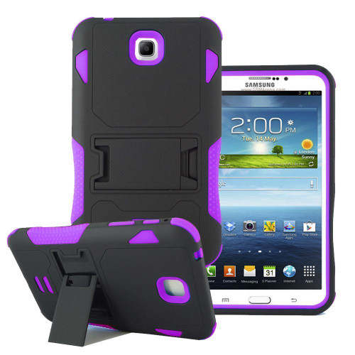 Samsung Galaxy Tab 3 7.0 / P3200 Impact Silicone Case Dual Layer With Stand Purple