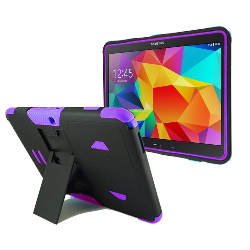 Samsung Galaxy Tab 4 10.1 / T530 Impact Silicone Case Dual Layer With Stand Purple