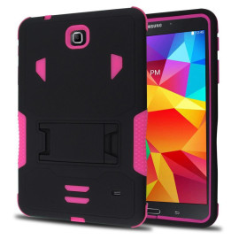 Samsung Galaxy Tab 4 7.0 / T230 Impact Silicone Case Dual Layer With Stand Pink