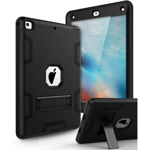 Apple Ipad Air 2Nd / A1566 / A1567 Shockproof Duty Hard Stand Case Cover Black Black