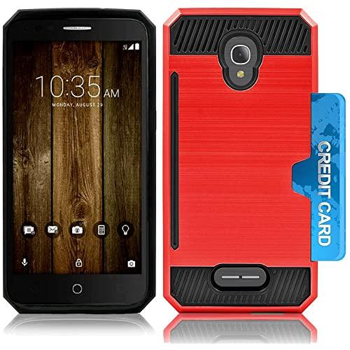 Alcatel Onetouch Fierce 4 / Allura / Pop 4 Plus Slim Pc Metal Brushed Protective Credit Card Slot Case Cover Case Cover Red