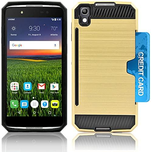 Alcatel Onetouch Idol 4 / Nitro 49 / 6055 Slim Pc Metal Brushed Protective Credit Card Slot Case Cover Case Cover Gold