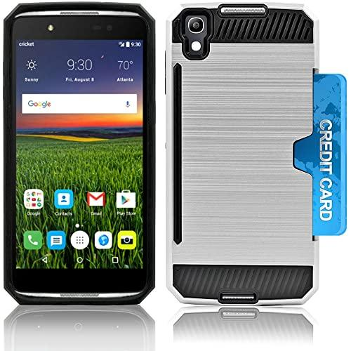 Alcatel Onetouch Idol 4 / Nitro 49 / 6055 Slim Pc Metal Brushed Protective Credit Card Slot Case Cover Case Cover Silver