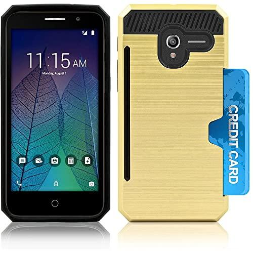 Alcatel Onetouch Tru / Stellar / 5060 / Pop 3 Slim Pc Metal Brushed Protective Credit Card Slot Case Cover Gold