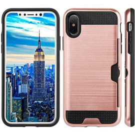 Apple Iphone X Slim Pc Metal Brushed Protective Credit Card Slot Case Cover Rose Gold