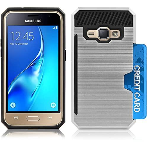 Samsung Galaxy J1 2016 / Amp2 Slim Pc Metal Brushed Protective Credit Card Slot Case Cover Silver