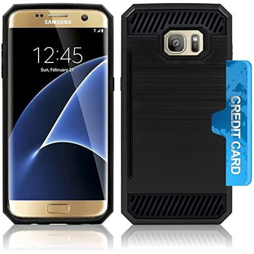 Samsung Galaxy S7 Slim Pc Metal Brushed Protective Credit Card Slot Case Cover Black