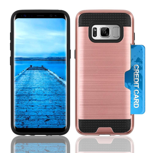 Samsung Galaxy S8 Slim Pc Metal Brushed Protective Credit Card Slot Case Cover Rose Gold