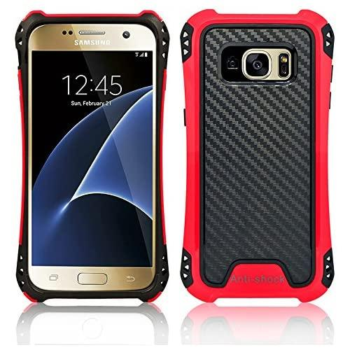 Samsung Galaxy S7 Hybrid Bumper Shockproof Tough Case Cover Red