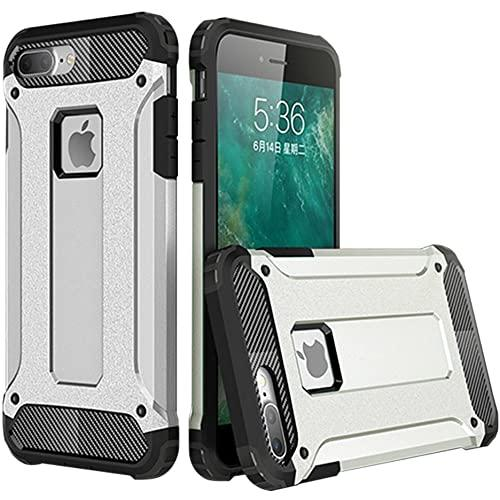 Iphone 8 Plus / 7 Plus protect Hybrid Dual Layer Shockproof Touch Case Cover Silver
