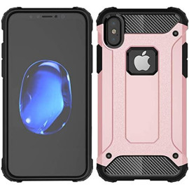 Apple Iphone X / 10 protect Hybrid Dual Layer Shockproof Touch Case Cover Rose Gold