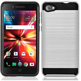 Alcatel Pulsemix / A50 / A5 / 5085 Hybrid Metal Brushed Shockproof Tough Case Cover Silver