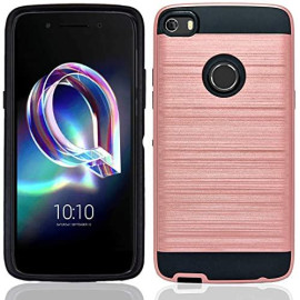 Alcatel Onetouch Idol 5 / 6060 Hybrid Metal Brushed Shockproof Tough Case Cover Rose Gold