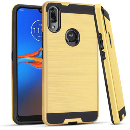 Motorola Moto E6 Plus Dual Layer Metal Brushed Shockproof protect Hybrid Case Cover Gold
