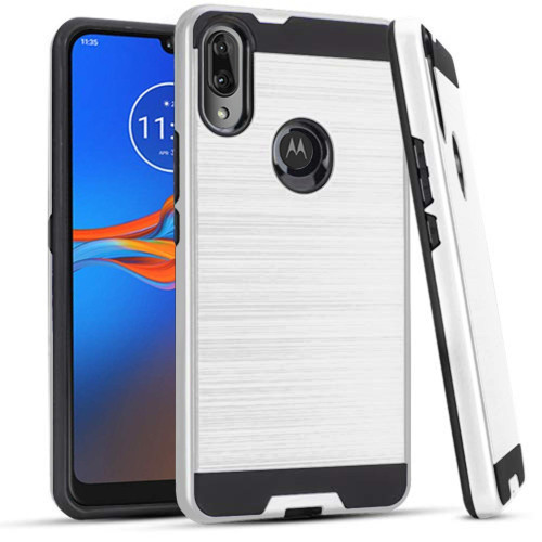 Motorola Moto E6 Plus Dual Layer Metal Brushed Shockproof protect Hybrid Case Cover Silver