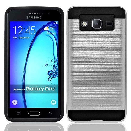 Samsung Galaxy On 5 / G550 / G500 Hybrid Metal Brushed Shockproof Tough Case Cover Silver