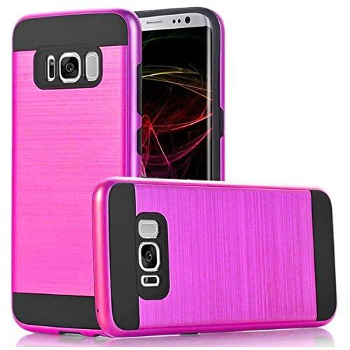 Samsung Galaxy S8 Hybrid Metal Brushed Shockproof Tough Case Cover Pink