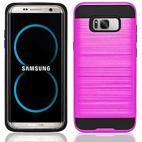 Samsung Galaxy S8 Plus Hybrid Metal Brushed Shockproof Tough Case Cover Pink