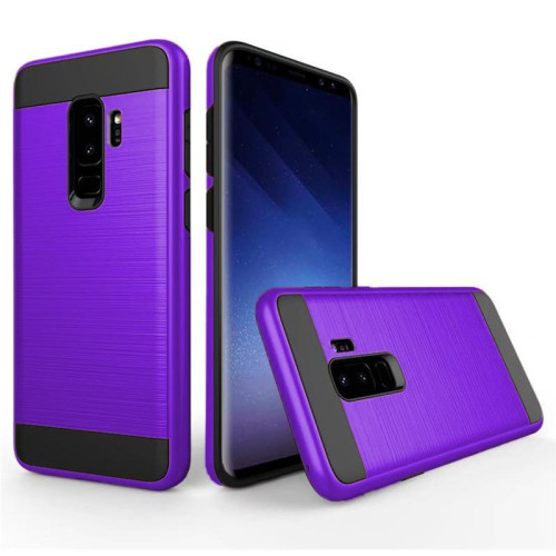 Samsung Galaxy S9 Plus Hybrid Metal Brushed Shockproof Tough Case Cover Purple