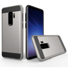 Samsung Galaxy S9 Plus Hybrid Metal Brushed Shockproof Tough Case Cover Silver