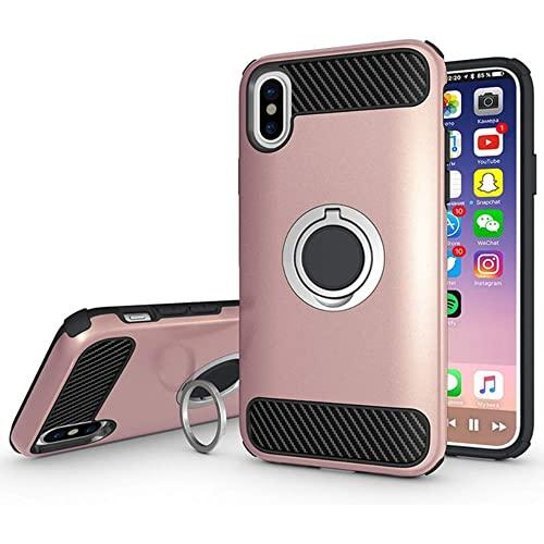 Apple Iphone X / 10 Shockproof Hybrid 360 Ring Stand Case Cover Rose Gold