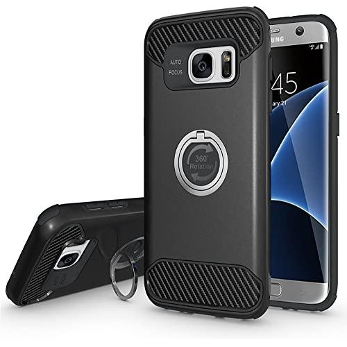 Samsung Galaxy S7 Edge Shockproof Hybrid 360 Ring Stand Case Cover Black