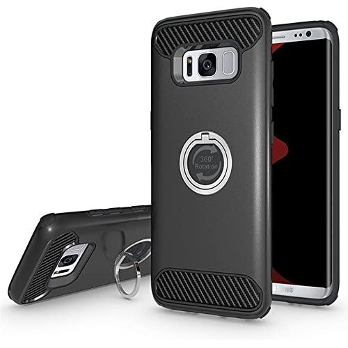 Samsung Galaxy S8 Shockproof Hybrid 360 Ring Stand Case Cover Black
