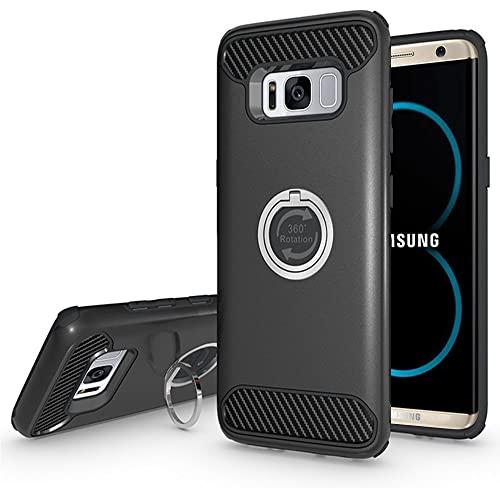 Samsung Galaxy S8 Plus Shockproof Hybrid 360 Ring Stand Case Cover Black