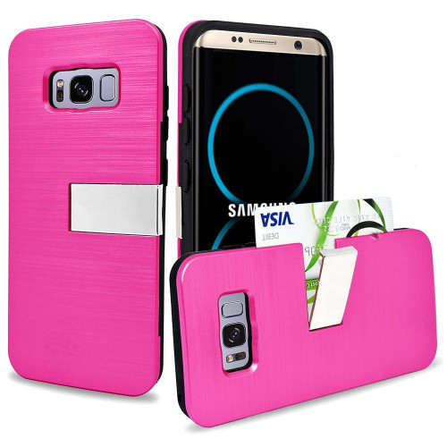 Samsung Galaxy S8 Plus Hybrid Metallic Brushed Protective Kickstand With Card Slot Case Cover Pink