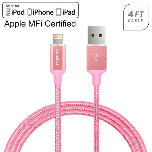 Universal Apple Ipod Ipad Iphone Mfi Certified Nylon Braided Lightning 4Ft. Usb Cable Rose Gold