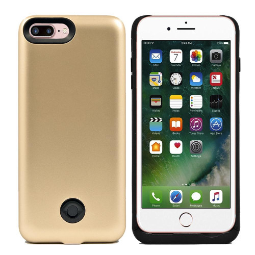 Iphone 8 Plus / 7 Plus External Battery Backup Case Charger Power Bank 9000Mah Gold