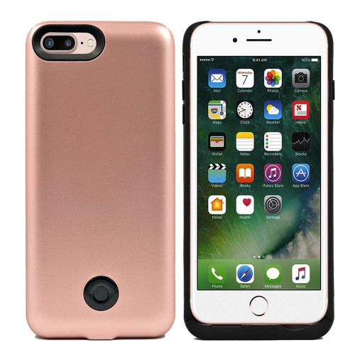 Iphone 8 Plus / 7 Plus External Battery Backup Case Charger Power Bank 9000Mah Rose Gold