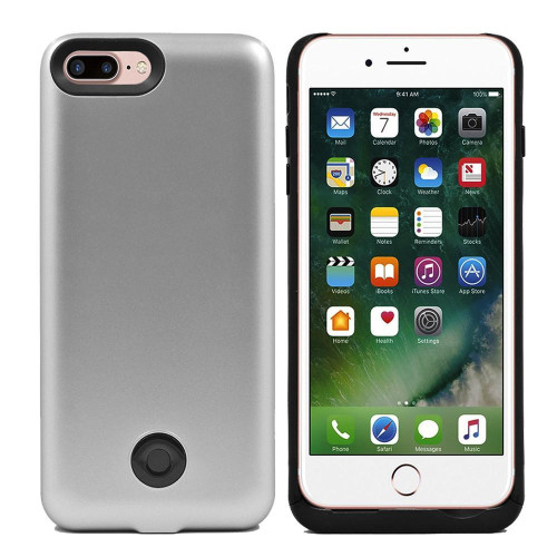 Iphone 8 Plus / 7 Plus External Battery Backup Case Charger Power Bank 9000Mah Silver