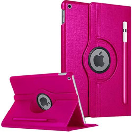 Apple Ipad 7Th Generation 2019 10.2 Inch / A2200 / A2198 / A2197 360 Degree Rotating Stand W/ Pencil Slots Leather Folio Tablet Case Cover Pink