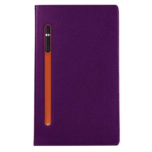Samsung Galaxy Tab A 10.1 Inch 2019 T510 / T515 360 Degree Rotating Stand W/ Pencil Slots Leather Folio Tablet Case Cover Purple