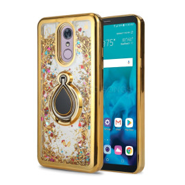 Lg Stylo 5 / Stylo 5 Plus / Stylo 5V Sparkling Glitter Liquid Floating Hearts Stars Magnetic Ring Stand Case Cover Gold