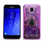 Samsung Galaxy J3 2018 / J337 Sparkling Glitter Liquid Floating Hearts Stars Magnetic Ring Stand Case Cover Purple
