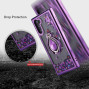 Samsung Galaxy Note 10 Sparkling Glitter Liquid Floating Hearts Stars Magnetic Ring Stand Case Cover Purple
