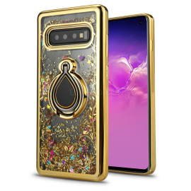 Samsung Galaxy S10E Sparkling Glitter Liquid Floating Hearts Stars Magnetic Ring Stand Case Cover Gold