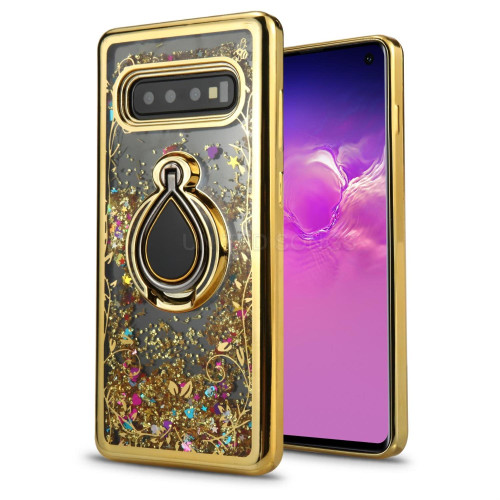 Samsung Galaxy S10 Sparkling Glitter Liquid Floating Hearts Stars Magnetic Ring Stand Case Cover Gold