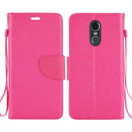 Lg Stylo 4 / Stylo 4 Plus / Stylus 4 Edge Folio Leather Wallet Pouch Case Cover Pink