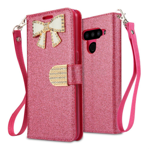 Lg V50 Thinq Diamond Bow Glitter Leather Wallet Case Cover Pink