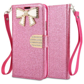 Samsung Galaxy A50 / A30 / A20 Diamond Bow Glitter Leather Wallet Case Cover Pink